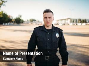Officer male police uniform road