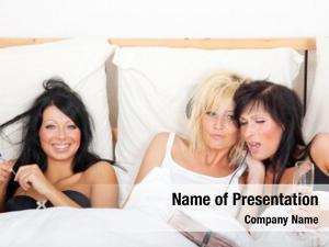 One three girls bed having