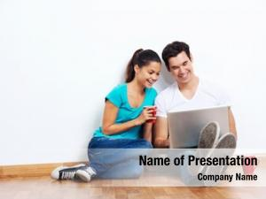Computer wireless laptop couple sitting