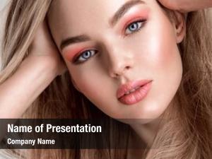 Woman portrait beautiful coral color