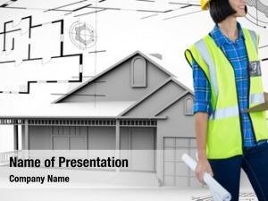 Holding female architect clipboard blue