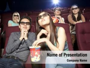Sitting young couple cinema wearing
