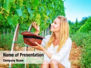 Grape happy girl field, woman