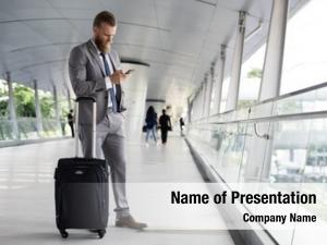 Call businessmen walk phone luggage