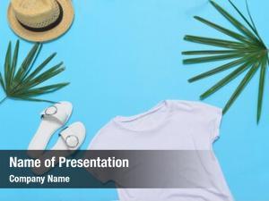 Hat, closeup white palm,shoes,straw hat blue
