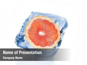 Frozen grapefruit slice ice cube,
