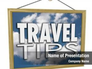 Words travel tips hanging sign