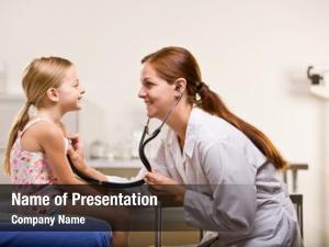 Girl doctor giving checkup doctor