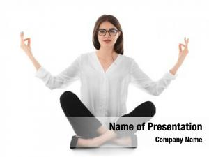 Meditation businesswoman relaxing pose, white