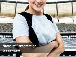 Businesswoman portrait smiling standing arms