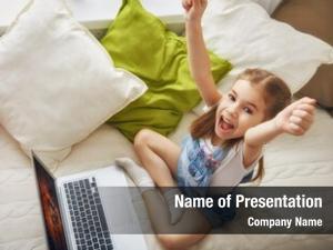 Girl child little laptop computer
