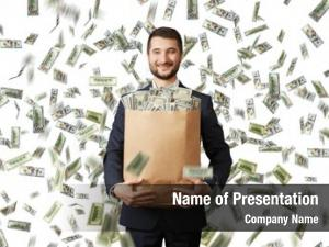 Businessman smiley young holding paper