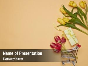 Gift shopping trolley, box, tulips