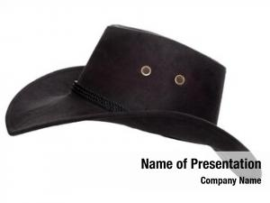 Hat black leather white