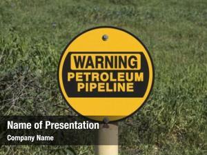 Warning petroleum pipeline sign green