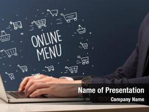 Laptop businessman working online menu