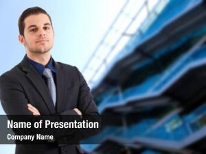 Businessman confident young against blue