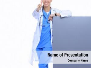 Blank female doctor billboard