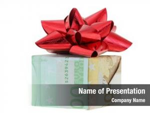 Wrapped gift box euro banknote
