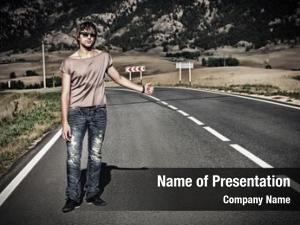 Man handsome young hitchhiker standing