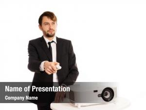 Projector businessman using presentation doing