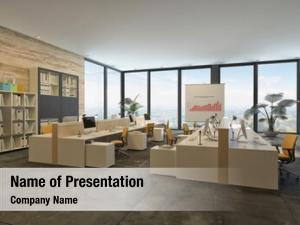 Open plan rendering large commercial office