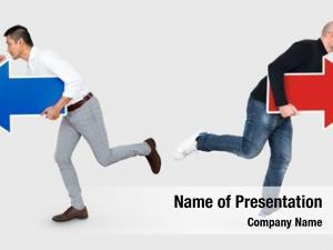 Different businessmen running directions