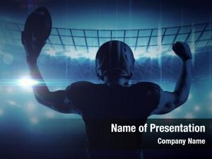 Player american football standing helmet