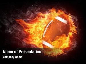 Ball burning football enveloped fire