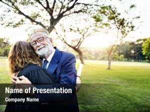 Grandfather graduation day proud hugging