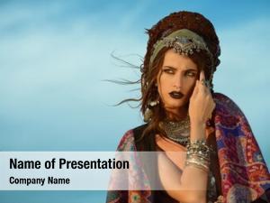 Model beautiful fashion posing boho