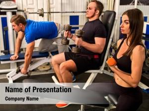 Body building exercises friends in gym workout