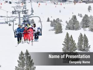 Resort family ski sitting chairlift