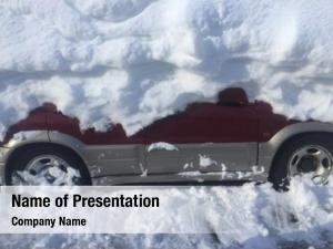 Snow car under after blizzard