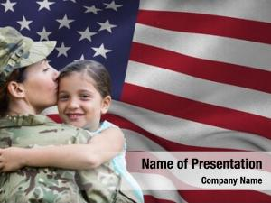 Embracing army woman her daughter