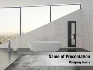 Against white bathtub stone wall
