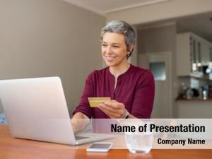 Woman happy senior making online