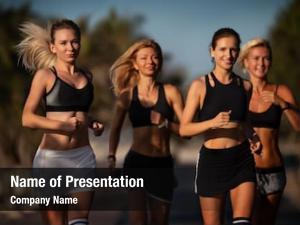Young healthy happy women jogging