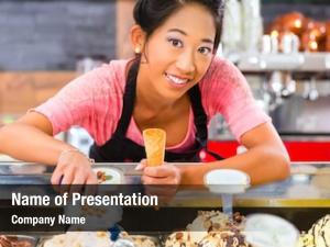 Saleswoman young asian ice cream