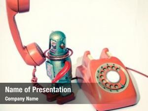 Old retro robot phone robot