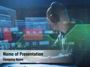 Technology cybercrime, hacking concept male