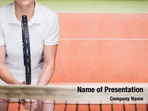 Playing female athlete tennis against