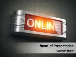 Glowing online red warning signboard