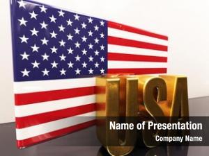 Usa render: gold american flag