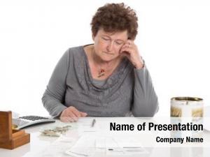 Woman sad pensioner have money