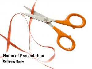 Cutting orange scissors orange ribbon