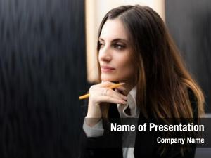 Manager young female pensive expressione