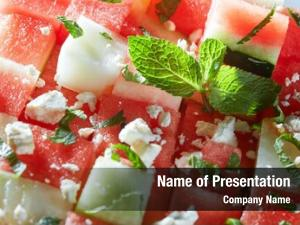 Mint cubes watermelon feta cheese