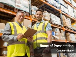 Foreman warehouse manager looking camera