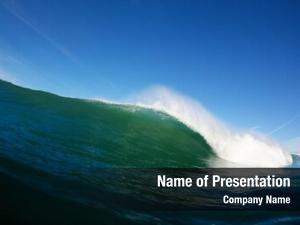 Wave blue ocean breaking ocean,